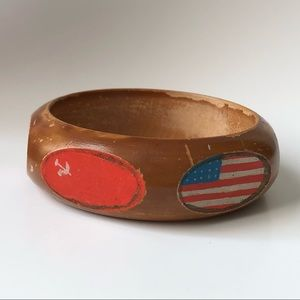 Rare vintage 1940s flag bangle wooden bracelet